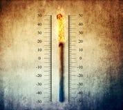 Matchstick termometr obrazy stock