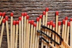 Matchsticks de madeira Fotografia de Stock Royalty Free