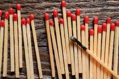 Matchsticks de madeira Imagens de Stock Royalty Free