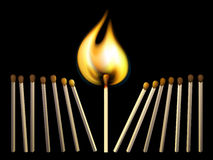 Matchsticks and fire. Vector matchsticks and fire on black background. Created using gradient meshes Stock Image