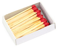Matchsticks in a matchbox Royalty Free Stock Photos