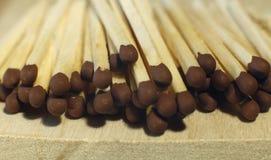 Matchsticks mit braunen Tipps auf einem Birkenbrettmakroabschluß oben Stockfotografie