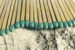 Matchsticks mit grünen Tipps auf einem Birkenbrettmakroabschluß oben Lizenzfreies Stockbild