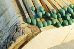 Matchsticks mit grünen Tipps auf einem Birkenbrettmakroabschluß oben Lizenzfreie Stockbilder