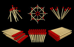 Matchsticks Pills. Six sets of pills of 3D matchsticks placed on a black background Royalty Free Stock Photo