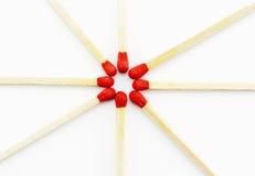 Matchsticks rojos Fotografía de archivo libre de regalías