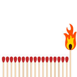 Matchsticks in a row with a unique one burning Royalty Free Stock Photos