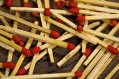 Matchsticks on wooden Stock Photos