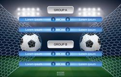 Matchzeitplan des Fußballfußballcups mit Stadionshintergrund stockfotografie