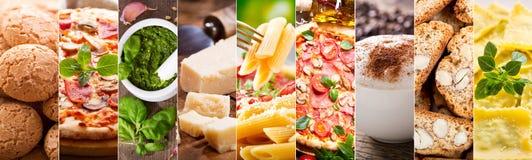 Matcollage av italiensk kokkonst arkivfoton