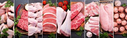 Matcollage av olik nytt kött och höna royaltyfria bilder