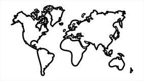 Mate alfa del luma de la animación del icono del mapa del mundo almacen de video