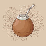 Mate in calabash with bombilla. Illustration with mate tea in calabash and bombilla Royalty Free Stock Image