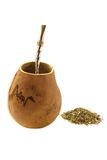 Mate calabash with bombilla on white background Stock Images