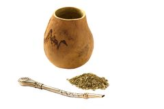 Mate calabash and bombilla on white background Stock Image