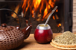 Mate in the calabash, kettle, yerba Royalty Free Stock Photo