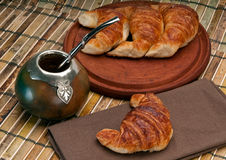 Mate and Croissants Stock Image