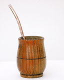Mate Cup. This is a mate cup and straw. It is popular in Argentina. It is used to drink a tea called Mate Stock Photography