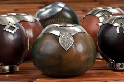 Mate Cups. Close up of calabash cups for mate. Mate is a traditional drink very similar to tea in Argentina, Uruguay, Paraguay and some parts of Brazil stock photography