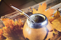 Mate gourd close up. Mate gourd on vintage wooden table close up Royalty Free Stock Photography