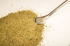Mate herb with drinking straw Royalty Free Stock Images