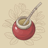 Mate. Illustration with mate tea in calabash and bombilla Royalty Free Stock Image