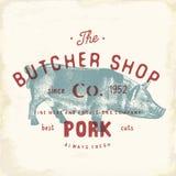 Mate los productos de carne de cerdo del emblema del vintage de Shop, estilo retro de la plantilla del logotipo de la carnicería  stock de ilustración