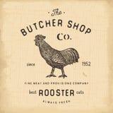 Mate los productos de carne del gallo del emblema del vintage de Shop, estilo retro de la plantilla del logotipo de la carnicería stock de ilustración