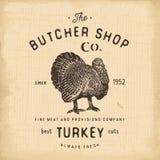 Mate los productos de carne del pavo del emblema del vintage de Shop, estilo retro de la plantilla del logotipo de la carnicería  stock de ilustración