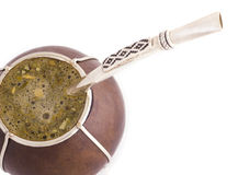 Mate Macro 2. A macro shot of Argentinian mate with a bomba/bombija Stock Photography