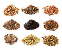 Mate, Rooibos and herbal tea collection. On white background Royalty Free Stock Images