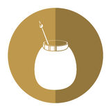 Mate tea calabash herb-circle icon shadow Royalty Free Stock Image