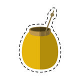 Mate tea calabash herb-cut line. Vector illustration eps 10 stock illustration