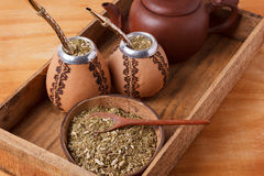 Mate in a traditional calabash gourd with bombilla Royalty Free Stock Image