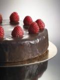 Matefterrätt, chokladkaka med jordgubbar Arkivfoto