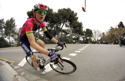 Matej Mohoric of Lampre Merida Team. Matej Mohoric of Lampre–Merida Team rides during the Tour of Catalonia cycling race through the streets of Monjuich Stock Images