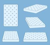 Matelas confortable capitonné de lit de sommeil dans le calibre différent de vecteur de position illustration libre de droits