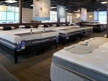 Matelas gentil sur le lit à vendre au magasin d'experts en matière de sommeil Image stock