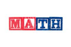 Matemáticas - bloques del bebé del alfabeto en blanco Foto de archivo libre de regalías