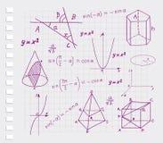 Matemáticas - bosquejos geométricos de las dimensiones de una variable Imagen de archivo