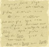 Matemáticas das fórmulas no papel velho Imagem de Stock