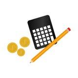 Matemáticas de la calculadora con el icono aislado lápiz Fotos de archivo
