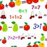 Matemáticas inconsútiles de la fruta Imagen de archivo