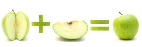 Matemáticas verdes de la manzana Fotografía de archivo