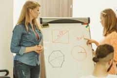 Matematica d'istruzione dell'insegnante agli studenti di college Fotografia Stock