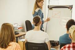 Matematica d'istruzione dell'insegnante agli studenti di college Immagini Stock