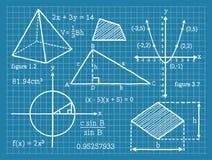 Matematik algebra, geometri, trigonometri stock illustrationer