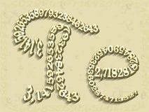 Matematik bokstaven e och PI visas från diagram Royaltyfria Foton