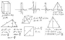 Matematik- och geometriuppsättning Royaltyfria Bilder