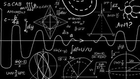 Matematiklikställande Skriva en matematikformel på svart tavla royaltyfri illustrationer